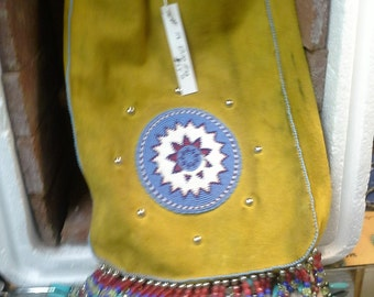 apachie beaded bag elk hide