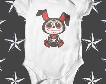 Day Of The Dead Bunny Baby Bodysuit | Unisex Baby Outfit | Cute Baby Clothes | Funny Baby Bodysuit | Baby Shower Gift | Tattoo Baby Bodysuit