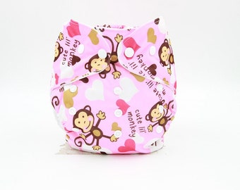 Pink Or Blue Monkey Washable Cloth Nappy
