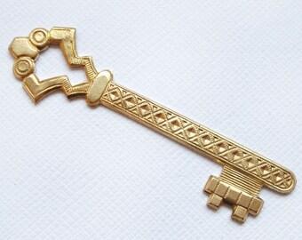 1 Raw Brass Ornate Key Pendant