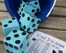 Yard Yahtzee - Includes 5 Dice, Bucket, Erasable Score Sheet & Marker - Camping, Party, Outdoor, Yard, Tailgating Fun!