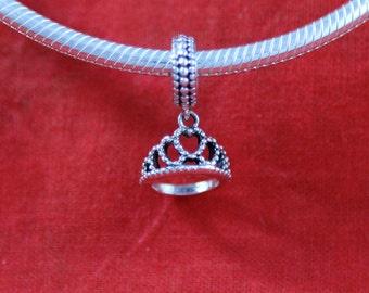Sterling Silver 925 Princess Heart Tiara Dangle European Charm Bead