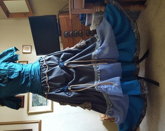 Beautiful Steampunk/Victorian/Theatre/Riding/long layered hitched skirt 14/18