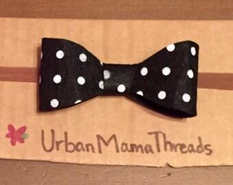 Black and white polka dot felt headband