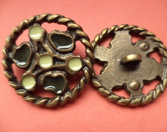 5 METAL BUTTONS bronze 28 mm (5289) buttons metal knob