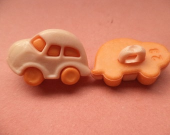 5 children buttons orange 18 mm x 13 mm (3328) buttons button car