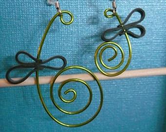 "Earrings handmade ""Green butterflies"""