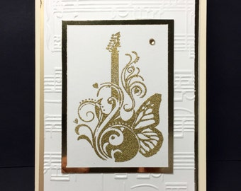 Guitar Note Card - Music Card - Musician - Sheet Music - Handmade