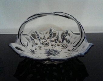 Vintage French Blue & White ceramic Fruit Bowl