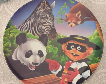 Vintage 1996 Ronald McDonald Plate ~ Hamburglar at the zoo