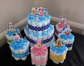 2 or 3 tier Disney Babies Diaper Cake - Pink or Blue - Baby shower centerpiece Nursery Decoration - next day shipping