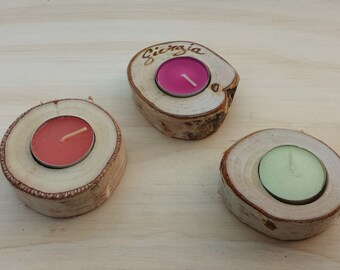 Birch wood DOOR custom placeholder CANDLES with name engraved in focus