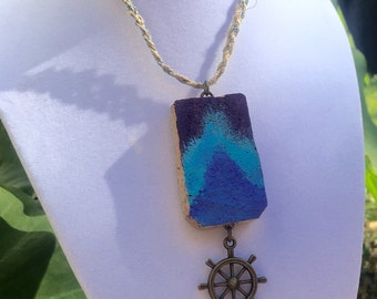 Purple and Blue Hewes.. Upcycled Wine Cork Pendant Necklace