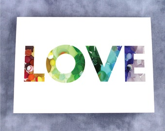 Sea Glass and Sea Marbles Rainbow LOVE Note Card - Blank