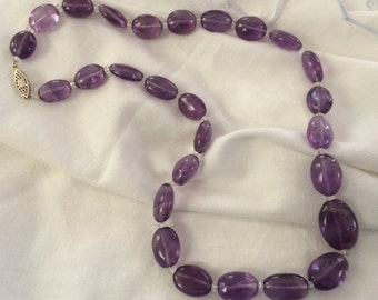 Necklace with Genuine Amethyst and Crystal Beads, Beautiful!