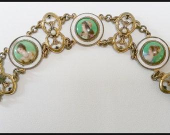 Art Nouveau Czech enamelled portrait bracelet - three portraits of Art Nouveau maidens