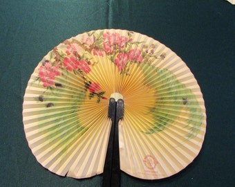 Vintage Folding Hand Fan, Made in the People's Republic of China Hand Fan, Cherry Blossoms Folding Hand Fan