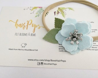 Small Anemone Flower Headband - Pastel Blue