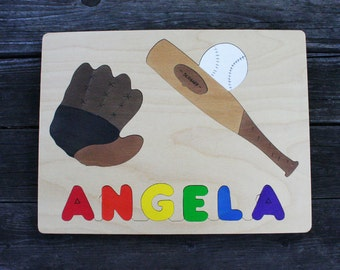 Baseball Picture Name Puzzles, Handmade, Wooden Name Jigsaw Puzzles