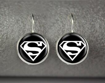 Superman earrings, superman jewelry, superman accessories