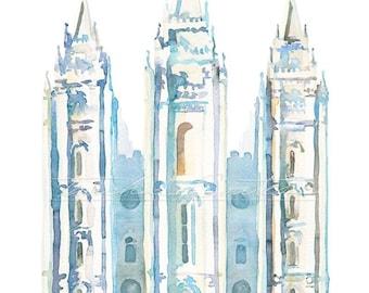 LDS Salt Lake Temple Painting Watercolor Blue Print