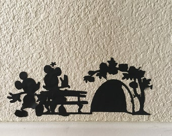Mouse Hole-Mickey and Minnie-Vinyl Wall Home Decal-Wall Decor-Family Room Decal