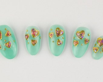 Kawaii Sprinkle Hearts with Minty Teal Gel Press on Nail Set