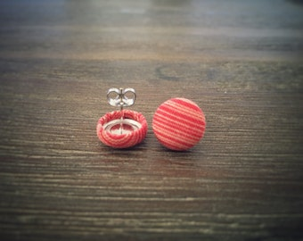 Red and Yellow Earrings. Stripe Fabric. Handmade Earrings. Fabric Button Earrings. Gifts For Her. Gifts Under 20. Stud Earring.