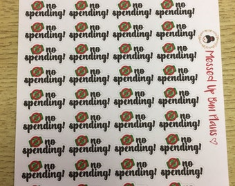 Planner stickers - no spending icons, save money, no shopping