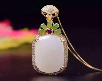 Nephrite sterling silver pendant