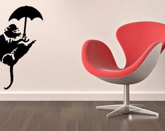 Banksy umbrella rat vinyl Wall Art sticker decal graphics decor home