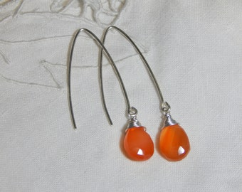 Carnelian Earings/925 Carnelian Earings /Carnelian Silver Earings/Carnelian Drop Earings/Carnelian Dangle Earings/Wrapped Briolette Earings
