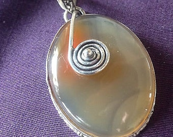 Unusual Heavy, Embossed Silver & Agate Opaque Stone Pendant