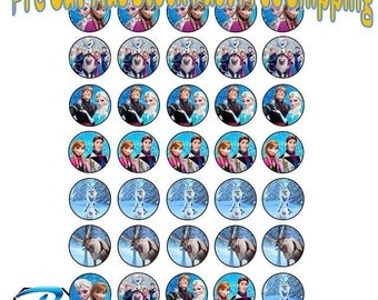 35X Edible Cupcake Toppers Frozen Wafer or Icing 35mm Birthday Party Cake Anna Elsa v2
