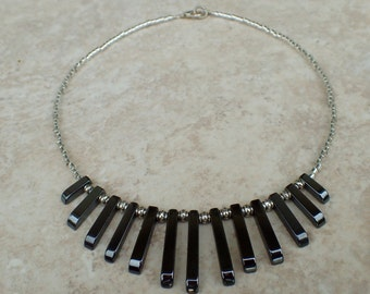 Hematite Silver Seed Bead Beaded Necklace