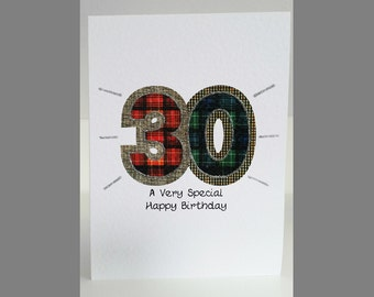 Special Wishes Large Birthday Tartan Number 30 Card SW BI11