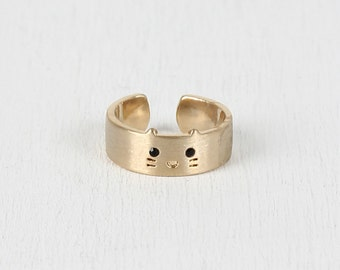 Kitty face ring - gold