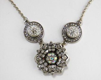 Three Snap Crystal Clear Necklace