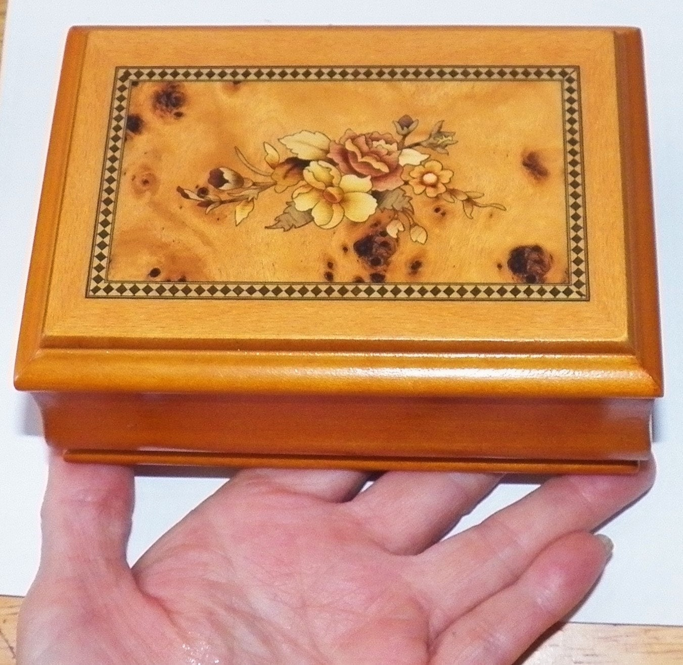 vintage 5 inch solid wood jewelry box burly maple