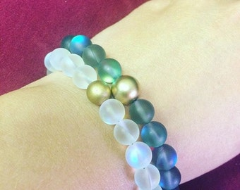 Moonglow Bracelet with Matte Gold or Silver Accent Bead