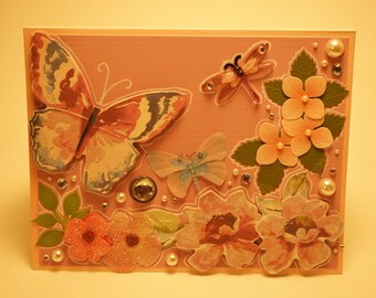Handmade Lavender Flower and Butterfly Card