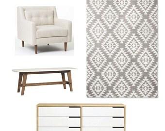 Interior Design Service - Furniture Design - Virtual Design - Mood Board - Shopping List - Affordable and Easy