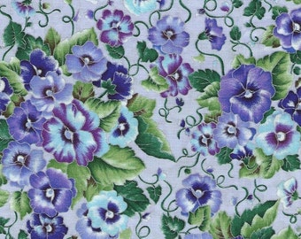 Pansy Fabric...Pansies With Shades of Light Blue and Purple on Lavendar With Silver Lining.