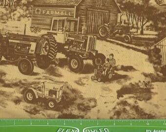 Farmal tractors, toile in brown tones, Print concepts