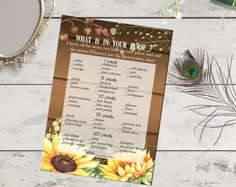 What is in your purse bridal shower game printable, sunflower game, rustic wood sunflowers shower game, digital download, bachelorette party