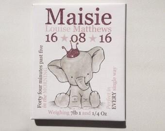 Personalised new baby gift babies nursery elephant theme newborn keepsake print bedroom