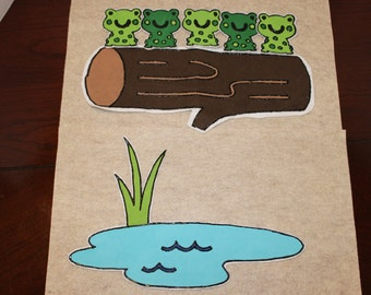 Five Green and Speckled Frogs Counting Song Felt Board Toy Preschool
