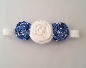 Blue and White Rosette Headband