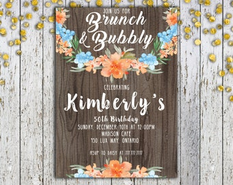 FLORAL BRUNCH INVITATION, Birthday Brunch Invitation, Bday Brunch, Birthday Invitation, Brunch and Bubbly Invite, Tropical Invitation, Bday