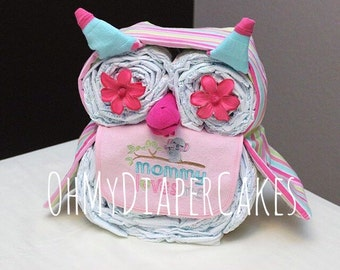 Owl Diaper Cake, Owl Baby Shower, Girl Baby Shower, Boy Baby Shower, Diaper Cakes for Girls, Baby Shower Decoration, Baby Shower Centerpiece